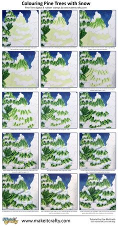 Zoe's Craft Blog – Copic Tutorial – Colouring Pine Trees with Snow