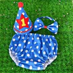 Boy's 1st Birthday / Cake Smash Royal Blue Polka Dot Outfit Circus or Carnival theme - Made to Order on Etsy, $38.37