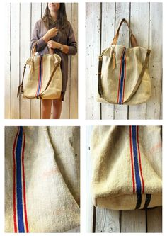 Papillon Grezzo- Handmade Italian Leather & Canvas Tote Handbag di LaSellerieLimited su Etsy