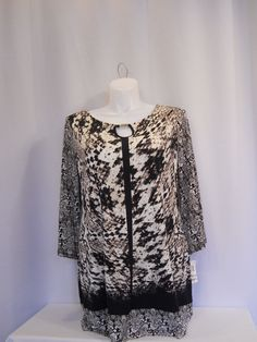 Style & Co Brown Animal Print Jeweled 3/4 Sleeve Scoop Neck Top Plus Size 1X #Styleco #Tunic #Career