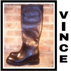 "🌟HP...Vince Tall Leather Black Crosby Boots This moto-inspired style of a knee high boot is set on a hidden wedge. A lugged sole boosts the approx 1.5""  heel. The quality Italian leather 16 1/2"" pull on boot shaft has a 14"" calf circumference. There are very few very minor surface scuffs due to being stored. Leather upper and lining/rubber sole. Website says they fit true to size. By Vince; made in Italy. NWT NEVER WORN BUT NO BOX. SORRY NO TRADES Vince Shoes"