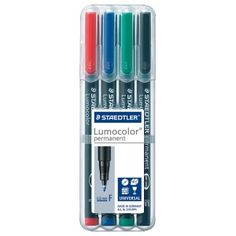 Staedtler® Lumocolor® Permanent Marker Set Fine : Assorted, 4-Pack, .6mm, Fine Nib, (model 318WP-4), price per set