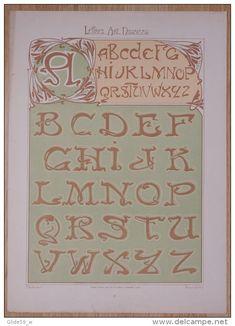 Lettres et Enseignes Art Nouveau - 1ère Série - Etienne Mullier (1900) - Pl 16 Lettres tortillées