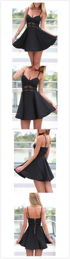 Black Spaghetti Strap Hollow Lace Dress