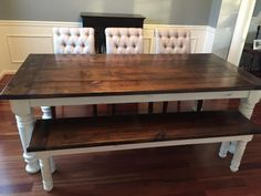 Farmhouse table + bench + extensions