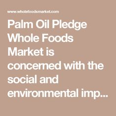 Palm Oil Pledge  Whole Foods Market is concerned with the social and environmental impacts of palm oil production in tropical rainforest ecosystems around the world, and our company supports the protection of rainforests, communities and our global climate.  We are proud to report that 100% of Whole Foods Market's 365 Everyday Value® brand food items containing palm oil, palm kernel oil, palm fruit oil and palm shortening are produced using Roundtable on Sustainable Palm Oil (RSPO) certified…
