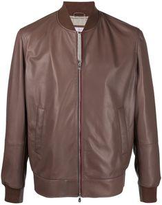 Brunello Cucinelli, Brown Leather, Contrast, Bomber Jacket, Women Wear, Long Sleeve, Sleeves, Cotton, Jackets