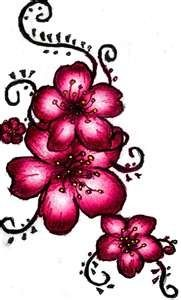 Pale pink, magenta, and black flower tattoo with spirals. Love the color would want a smoother outline.