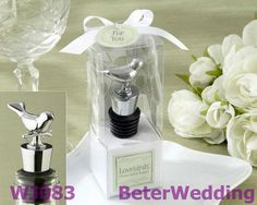 Lovebirds Chrome Bottle Stopper Wedding Decoration, event Gift, party Souvenir WJ083  Useful Wedding Gifts, Pratical Party Favors at BeterWedding, Shanghai Beter Gifts Co Ltd. http://www.aliexpress.com/store/512567