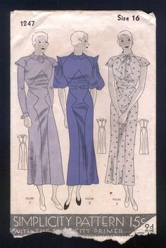Simplicity 1247 | 1930s Ladies' Dress - 3 styles