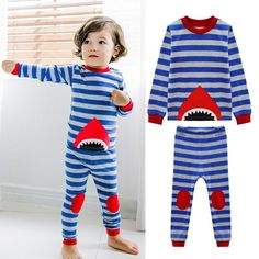 Summer Boys girls Clothes Suits Shark Children's Clothing Set long Sleeve strip T-Shirt+pants Suit  Kids Pajamas 1-6year #Affiliate