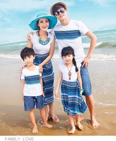 Bohemia mother and daughter dresses matching family clothes father son shirts family look girl mother cotton striped beachwear Mommy Daughter Matching Dresses, Mother Daughter Outfits, Mommy And Me Outfits, Matching Family Outfits, Matching Clothes, Blue Outfits, Matching Shirts, Family Clothing Sets, Family Clothes