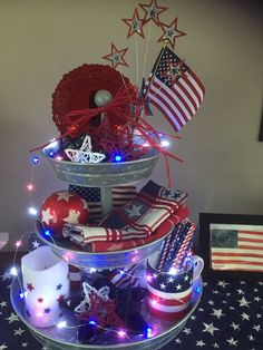 40 Nice Three Tier Stand Decor Ideas - Page 7 of 48 Fourth Of July Decor, 4th Of July Celebration, 4th Of July Party, July 4th, July Crafts, Summer Crafts, Holiday Crafts, Holiday Decor, Memorial Day Decorations