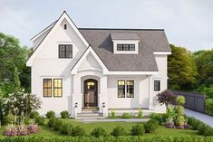 This attractive house plan has two steep gables and a tidy front porch with a decorative shed dormer above. At just wide, it is great for a narrower lot. Cottage House Plans, New House Plans, Dream House Plans, Small House Plans, Cottage Homes, House Floor Plans, Dream Houses, New Houses, Southern Living House Plans