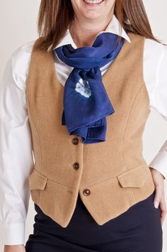 UPcycled camels hair vest fully lined, newly made A-line blue wool skirt, and shibori navy blue scarf, all items Beech Hill has created over the years