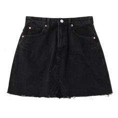 High Waisted Cutoffs Mini Denim Skirt Black S ($20) ❤ liked on Polyvore featuring skirts, mini skirts, high waisted denim skirt, denim skirt, denim cut offs, high-waisted skirts and mini skirt