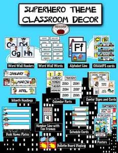 Classroom Decor-Superhero theme from House Fly Creations on TeachersN Decor Ideas Classroom Signs, Kindergarten Classroom, Future Classroom, School Classroom, Classroom Themes, Classroom Resources, Teaching Resources, Teaching Ideas, Superhero School Theme