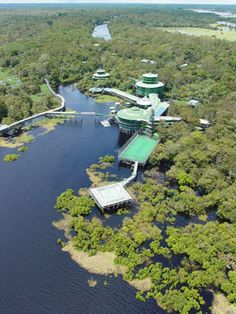 The Ariau Amazon Towers is the only hotel complex at tree top level in the Amazon rain forest. It is located 35 miles northwest of Manaus, Brazil, on the right bank of the Negro River. The 260 bedrooms, 11 suites and nine treehouse Tarzan suites are spread out in eight wood towers linked by 30-foot-high catwalks. (Ariau Amazon Towers)