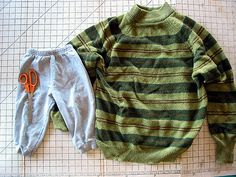 Sweater sleeves become toddler pants based on existing pair of sweat pants. Read tutorial over at my blog: www.greenkitchen.com/blog/2008/09/sweater-sleeve-kid-pant...