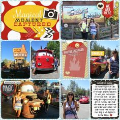 Disney Cars Carsland / Lightning McQueen, Mater Digital Project Life layout  - A perfect magical moment captured!!