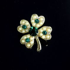 SOLD! Vintage Four Leaf Clover Pin Brooch Rhinestone Simulated Pearls $10  http://www.rubylane.com/item/885482-JE-450/Vintage-Four-Leaf-Clover-Pin