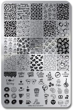 Coffee, Tea or Gonutz! 01 - Lina Stamping Plate for Nail Stamping and Nail Art Zantangle Art, Art Uk, Doodle Patterns, Zentangle Patterns, Zentangles, Donut Images, Nagel Stamping, Nail Art Stamping Plates, Image Plate