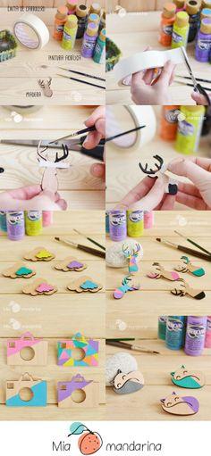 DIY Pintando Siluetas de madera www.miamandarina.es #miamandarinablog