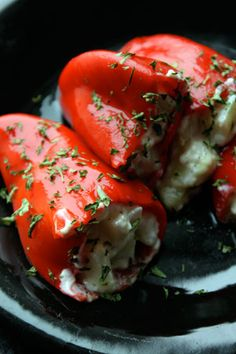 Roasted Red Peppers Stuffed with Cream Cheese, Garlic, Oregano, and Chopped Cucumber. Looooove using the RED peppers stuffed for entertaining family and buffets/brunches for large groups So dramatic! Think Food, I Love Food, Good Food, Yummy Food, Vegetable Recipes, Vegetarian Recipes, Cooking Recipes, Healthy Recipes, Delicious Recipes