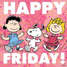 Happy friday by snoopy Happy Friday Pictures, Happy Friday Quotes, Friday Sayings, Snoopy Friday, Friday Humor, Charlie Brown Quotes, Charlie Brown And Snoopy, Peanuts Cartoon, Peanuts Snoopy