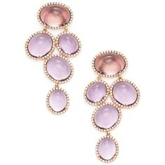 Rina Limor Women's 18K Rose Gold, Amethyst & 1.53 Total Ct. Diamond... ($3,495) ❤ liked on Polyvore featuring jewelry, earrings, purple, purple amethyst earrings, 18k diamond earrings, drop earrings, long earrings and 18k earrings