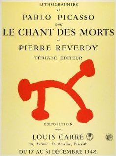 1957 Print Pablo Picasso Poster: Le Chant Des Morts by Pierre Reverdy