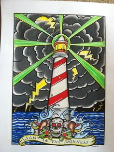 """"""" Light in the Darkness"""" 18.5"""" x 24"""" acrylic and watercolor on watercolor paper $100  www.tylerwilliamsartwork.storenvy.com  #art #illustration #painting #tattoo #lighthouse #surf #surfart #skate #lifestyle Vintage Nautical Tattoo, Lighthouse Art, Painting Tattoo, Surf Art, Watercolor Paper, Darkness, Skate, Tattoo Ideas, Surfing"""