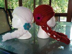 Crochet Frozen inspired Anna and Elsa hats by TracyplusCrochet, $21.00