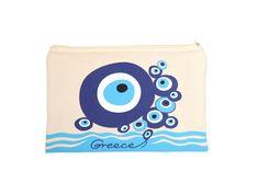 Canvas bag Evil Eye by TopGreekSouvenirs on Etsy Santorini Holidays, Travel Kits, Paint Shop, Homemade Christmas, Evil Eye, Shopping Bag, Zipper, Eyes, Canvas