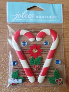 Jolee's Boutique  Wooden Candy Canes  NEW  by CynthiasCraftingNook