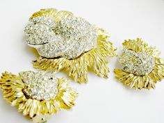 Vintage Ledo Brooch and Earring Set Pave by ToadSuckTreasures