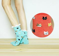 Cat Lace Socks Ankle Socks Socks Lace Boot Socks Knitted by ogood