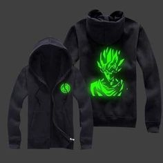 Dragon Ball Z - Super Saiyan Goku Zip-up Glow in the Dark Hoodie - Green/Black
