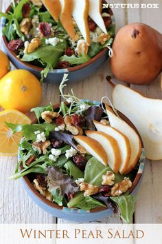 Yummy Winter Pear Salad with Lemon Vinaigrette: Nature Box - Recipe at link. No pears? Use Apples.