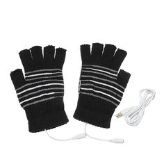 5V Motorcycle USB Warmer Removable Heated Half Finger Gloves