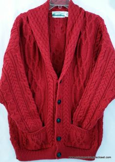 Arancrafts Mens Large Cardigan Fishermans Sweater Red Knit Wool Made in Ireland
