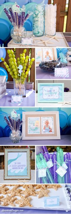 Mermaid Birthday Party Decorations by SprinkledDesigns.com! Printable Mermaid Decor Includes Food Tents, Bottle Labels Labels ,Banner, Stickers, Favor Tags, Welcome Sign; Purple Audrey Teal