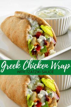 Wrap Recipes, Dinner Recipes, Planning Menu, Homemade Tzatziki, Health Dinner, Greek Dishes, Tzatziki Sauce, Mediterranean Diet Recipes, Greek Chicken