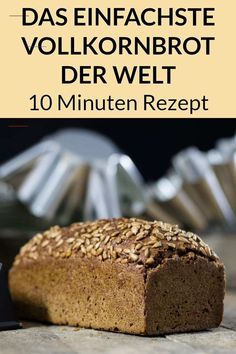 Einfaches Vollkornbrot Rezept – Gesund, ohne Weizen und schnell Our simple whole grain bread recipe is healthy, quickly made and without wheat. Baking bread yourself can be so easy. Wholemeal Bread Recipe, Wheat Bread Recipe, Healthy Bread Recipes, Vegan Breakfast Recipes, Dessert Sans Gluten, Breakfast Desayunos, Whole Wheat Bread, Bread Baking, Food And Drink
