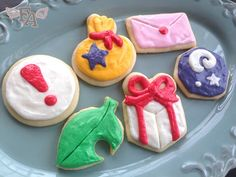 Animal Crossing pitfall seed, leaf, fossil, present, envelope and money bag sugar cookies recipe!