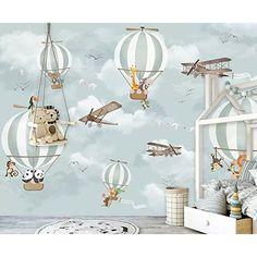 Harriet Bee Maelys Hot Air Balloon Animals Textured Wall Mural   Wayfair Kids Room Wallpaper, Animal Wallpaper, Wall Wallpaper, Wallpaper Size, Painting Wallpaper, Bedroom Wallpaper, Photo Wallpaper, Boy Girl Room, Baby Boy Rooms