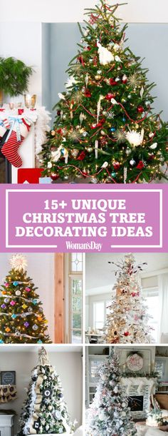 Bring the holiday cheer with these unique Christmas tree decorations that will light up your home for the holidays. Add blue accents to give your tree a combination of red and blue for a fun twist this Christmas. Christmas Tree Images, Unique Christmas Trees, Christmas Mantels, Christmas Tree Toppers, Diy Christmas Ornaments, Christmas Tree Decorations, Xmas Trees, White Christmas, Christmas Countdown
