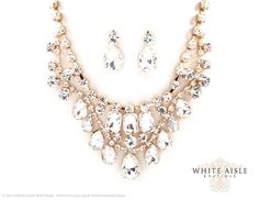 Vintage Style Bridal Necklace Earrings by WhiteAisleBoutique, $32.00