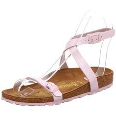 Rosa farbene Birkestock Sandalen mit Schlaufe, die sich um den Knöchel legt
