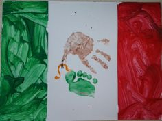 Mexican flag with hand and footprints